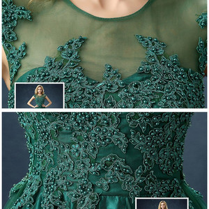 Image 5 - QQC292#Green long  bridesmaid dresses with short trailing tails wedding party dress 2019 gown prom Programme sponsor fashion