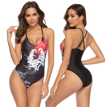 купить New Sexy Floral Print Swimsuit Women One Piece Suit Black Bathing Suit S-XL Girl Cross Back Bandage Swimwear One Piece Monokini по цене 789.31 рублей