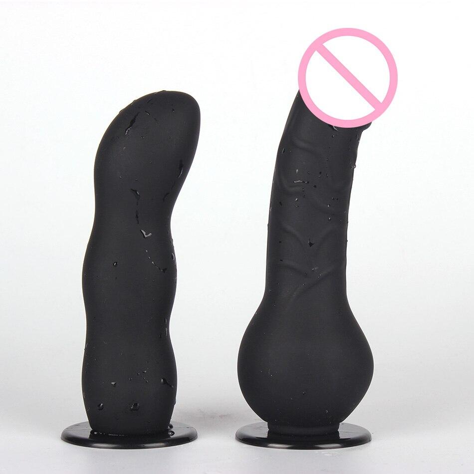lure wearing big dildo game toys massage anus vagina with nylon