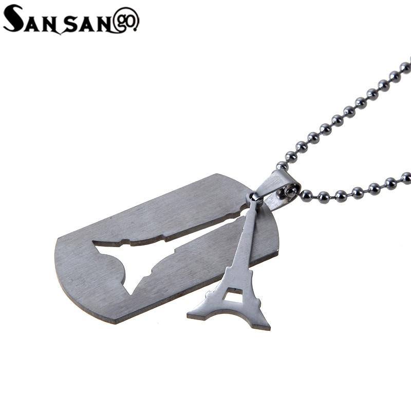 Vintage Gun Black Eiffel Tower Pendant Neckalce For Woman Men Stainless Steel Long Bead Chain Necklace Jewelry Gift