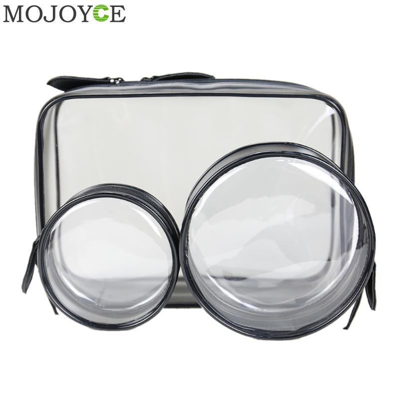 3pcs/lot Plastic Travel Makeup Bag Transparent PVC Zipper Cosmetic Bag Women Gift Bags Waterproof Toiletry Storage Cosmetic Bags
