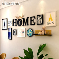 Living Room Vintage Wooden Painting Photo Frame Set with Letters Shelf Fashion Home Decor Solid Wood Wall Decoration
