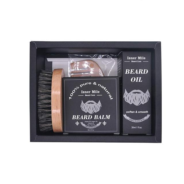 BellyLady 5PCS Male Beard Care Set Beard Cream Beard Comb Beard Oil Water Beard Brush Scissors