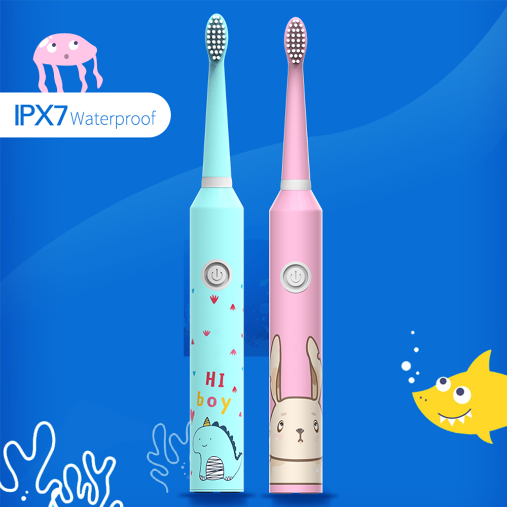 New 3 Modes Children Sonic Electric <font><b>Toothbrush</b></font> Cartoon Pattern for <font><b>Kids</b></font> with 2 DuPont Bristles Electric Tooth Teeth Brush Heads image