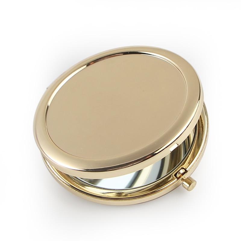 Круглое зеркало компактное однотонное золотистое зеркало без рисунка для подарка «сделай сам» 18413-2