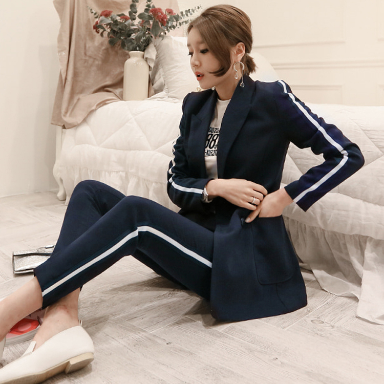 2018 Autumn High Quality Fashion Simple Double Breasted Slim Girl Office Lady High End Elegant Straight Line Suit Two Piece Set