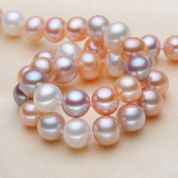 Freshwater pearl necklace genuine mixed color near circular light two 9 10mm on her mother to send his girlfriend diy real stone