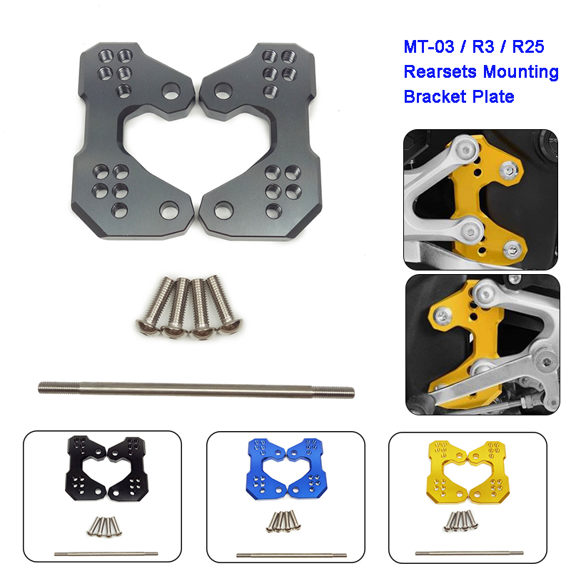For Yamaha YZF R3 R25 MT-03 2014 2015 2016 Motorcycle Rearset Rear set Replacement Base Mounting Bracket Plate CNC-machined for yamaha yzf r25 yzf r3 cnc rear fender mudguard chain guard cover kit for yamaha yzf r25 r3 mt 03 mt03 mt 03 2015 2016 2017