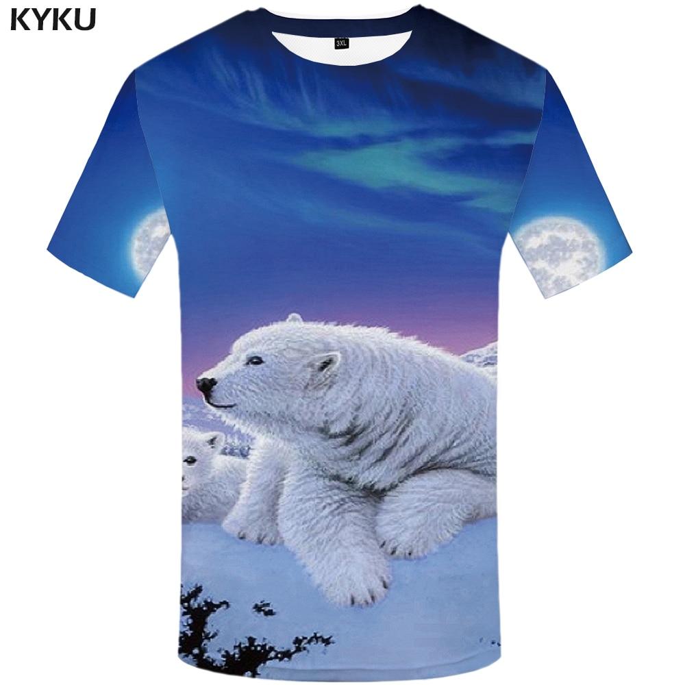 KYKU Bear   T     shirt   Men Mountain tshirt Snow 3d Printed   T  -  shirt   Streetwear Punk Rock clothes Hip hop tee Blue Animal mens clothing