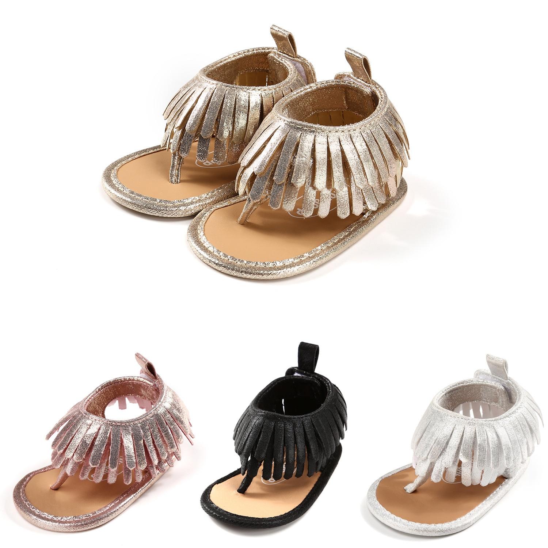 Baby Girl Sandals Fringe Clip Toe Flip-flops Infant Newborn Slippers 2020 Summer Soft Bottom Toddler Shoes