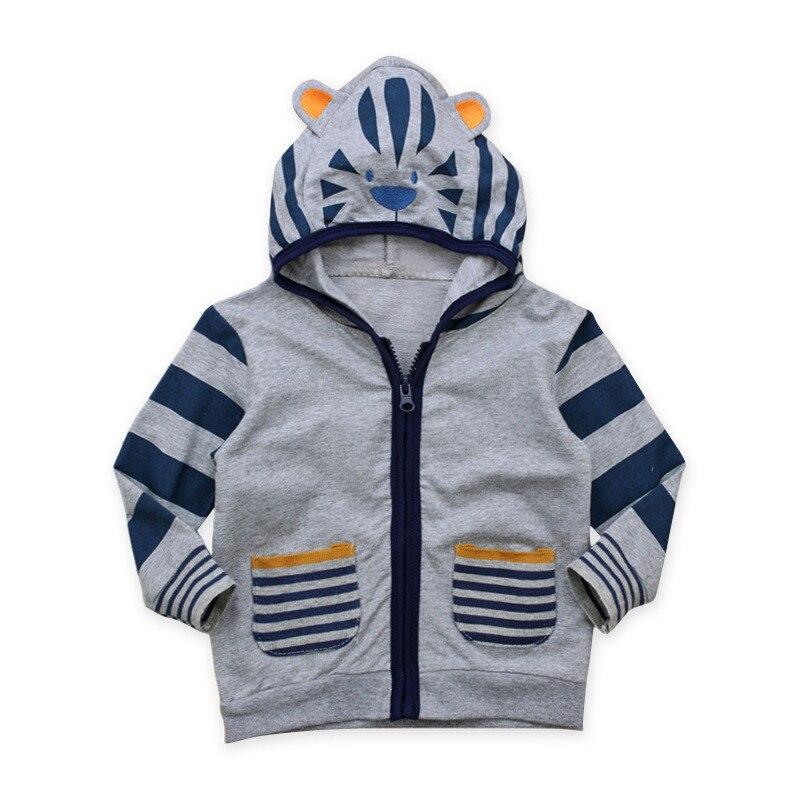 Детская Демисезонный для маленьких мальчиков с длинным рукавом Lion с капюшоном в полоску рубашка на молнии куртка Childrenwear От 2 до 7 лет верхняя...