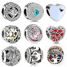 Btuamb Luxury Maxi Love Heart Flower Leaves Crystal Charm Beads Fit Pandora Bracelets Bangles for Women DIY Making Jewelry Gift(China)