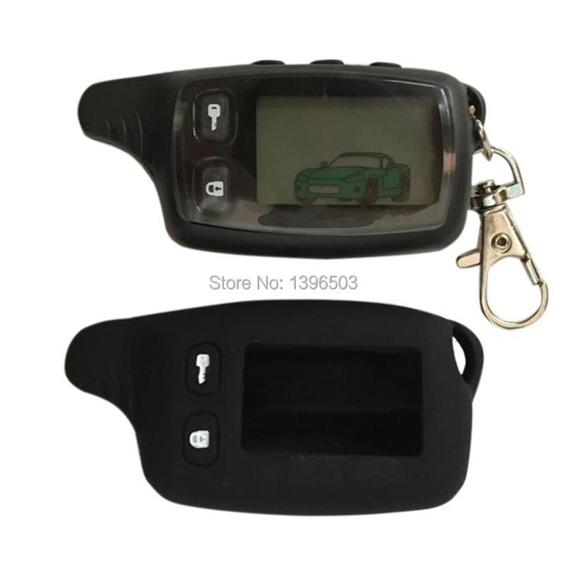 2-way TW 9010 LCD Remote Control Keychain + Silicone Case for TW9010 two way car alarm system Tomahawk TW-9010 Key Chain Fob
