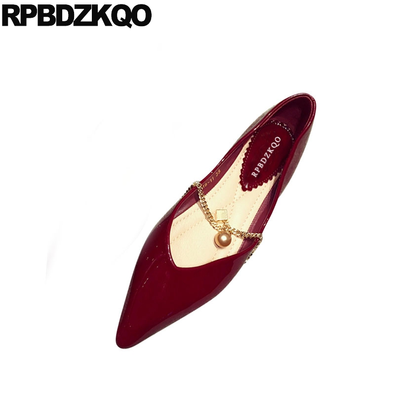 pointed toe comfortable chain 2018 designer ladies beautiful flats shoes slip on red wine china patent leather women pink chicpointed toe comfortable chain 2018 designer ladies beautiful flats shoes slip on red wine china patent leather women pink chic