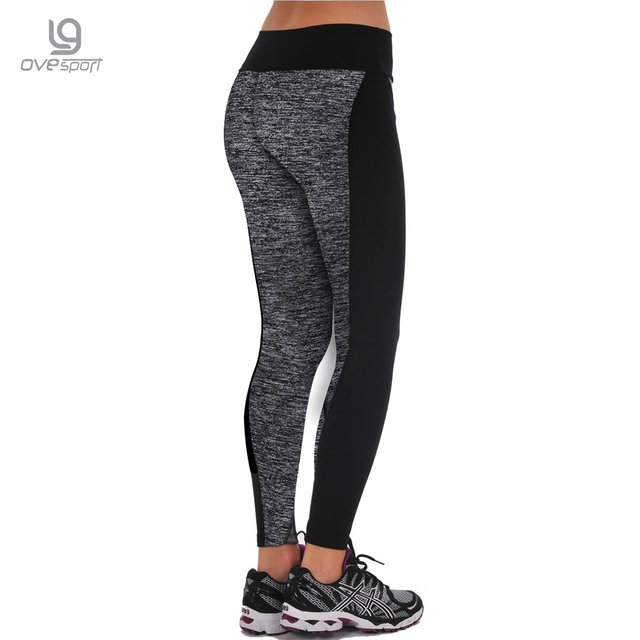 Plus Size Black/Gray Women's Fitness Leggings Workout Pants High Waist Leggings Ladies Sporting Leggings Quick-drying Trousers