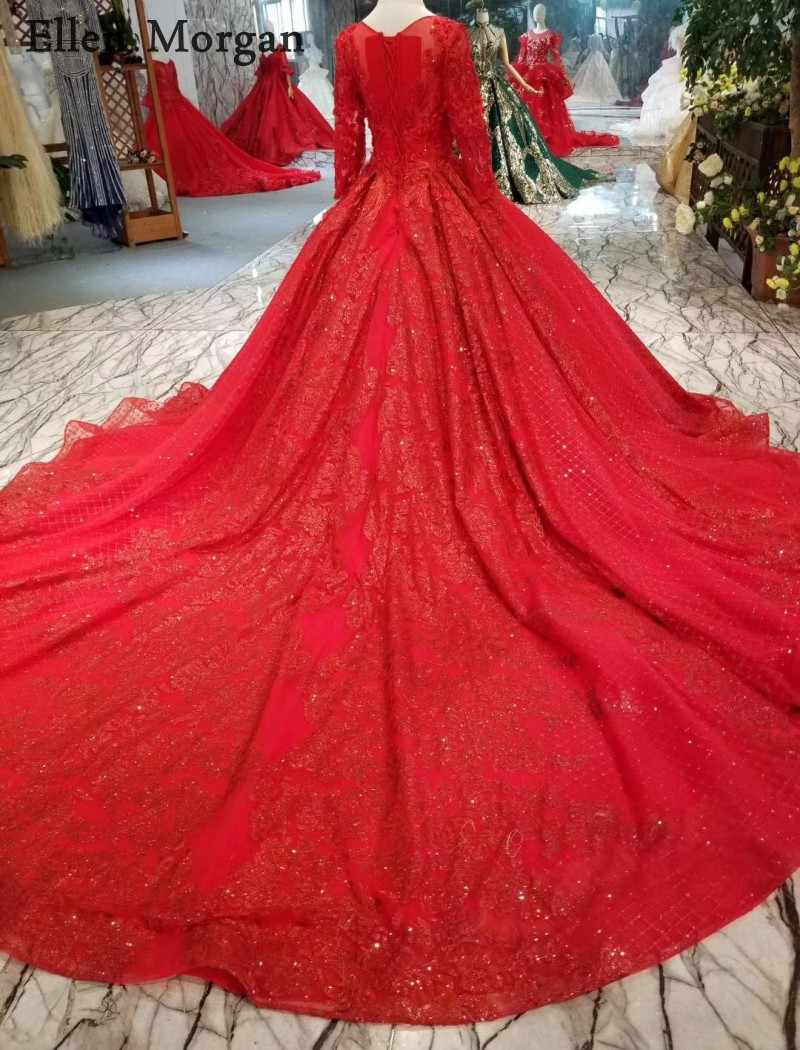 54f494e4b5 ... Red Glitter Long Sleeves Ball Gowns Wedding Dresses 2019 Beaded Custom  Made Real Photo Puffy Saudi ...