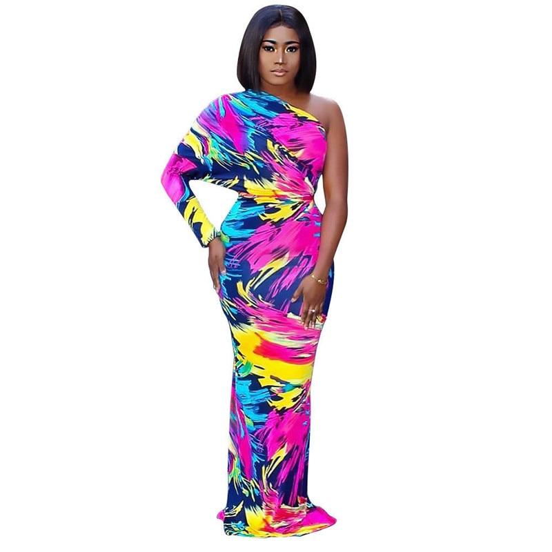 Fashion summer women print dress one shoulder Sexy backless long sleeve Casual beach dresses