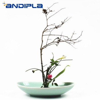 Longquan Celadon Oval Tabletop Flower Pot Vase Art Flower Arrangement Basin Ceramic Plate Fruit Salad Sushi Dish Home Ornaments