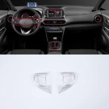 ABS Interior silver car accessories steering wheel cover For HYUNDAI KONA ENCINO 2018 lapetus steering wheel frame cover trim 2 pcs fit for hyundai kona 2018 2019 matte carbon fiber abs accessories interior