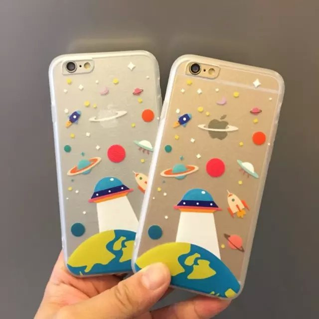 Transparent Slim Hot Cool Amazing Planet Star Outer Space Ufo Rocket Pattern Back Case For Iphone 6 6s Plus 7 7plus Phone Case Aliexpress