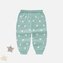 Вязаные длинные штаны с принтом в горошек для маленьких девочек зимние детские модные хлопковые эластичные штаны теплые хлопковые леггинсы для малышей AA12203