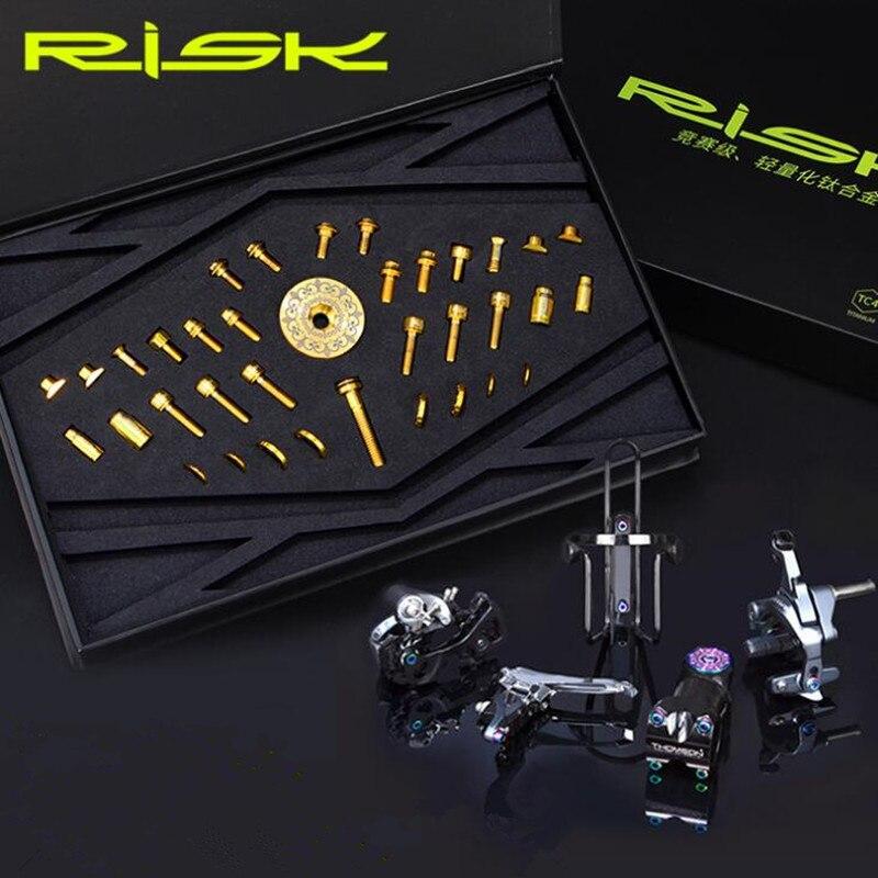36 pièces risque vélo de route en alliage de titane vis frein à disque/tige/porte-bouteille d'eau/vélo dérailleur fil/bouchon de Valve/boulons de fixation