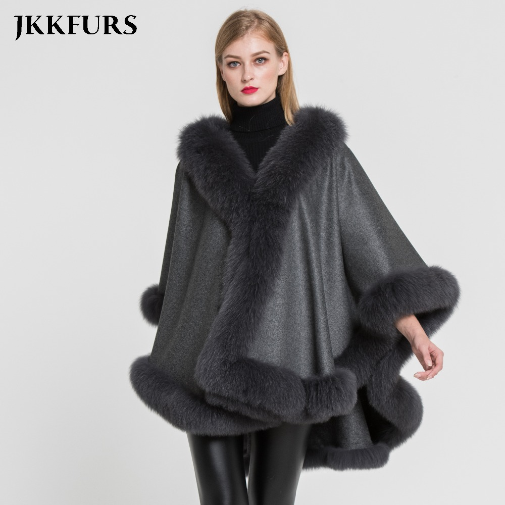 Women's Cashmere Throw Poncho Genuine Fox Fur Collar Trim & Cape Wool Fashion Style Jacket Autumn Winter Warm Coat S7356