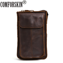 COMFORSKIN Brand Luxurious 100% Cow Leather Men Waist Pack Belt Bag 2017 New Arrivals Multi-function Travel Waist Pack Men Bag   все цены