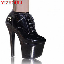 af755351 Moda sexy impermeable Etapa 17 cm tacones altos discoteca alta ayuda solos  zapatos grandes yardas(