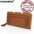 Guaranteed 100% Cowhide Genuine Leather New Arrivals Geometric Pattern Tassel Long Women Organizer Wallets Female Clutches Purse