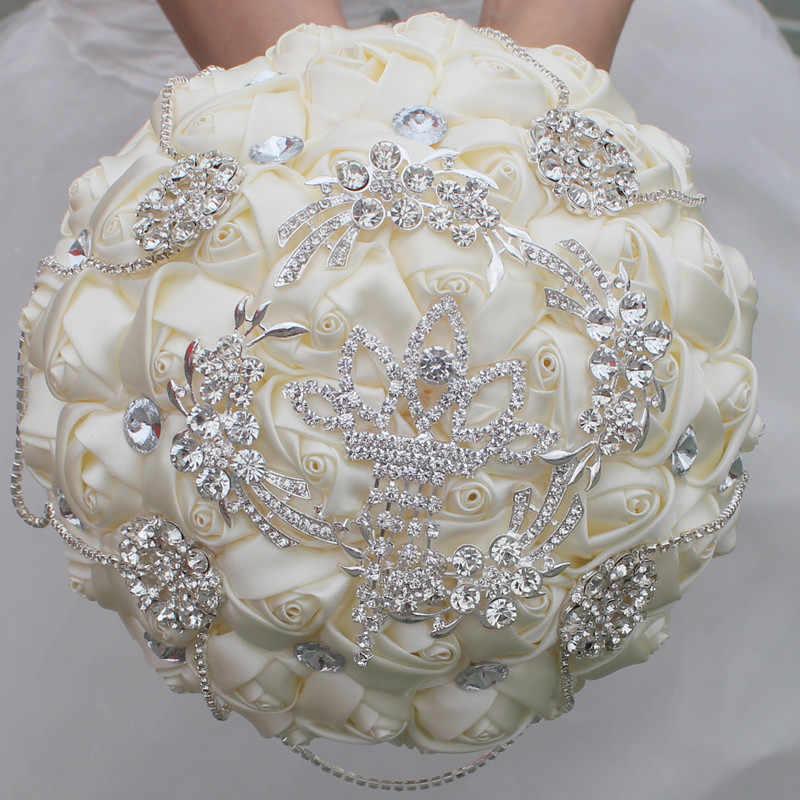 بوكيه ورد صناعي حرير ورود للزينة زفاف العروس حفلة رقص عاجي شريط أبيض فاخر أحجار الراين عقد زهور