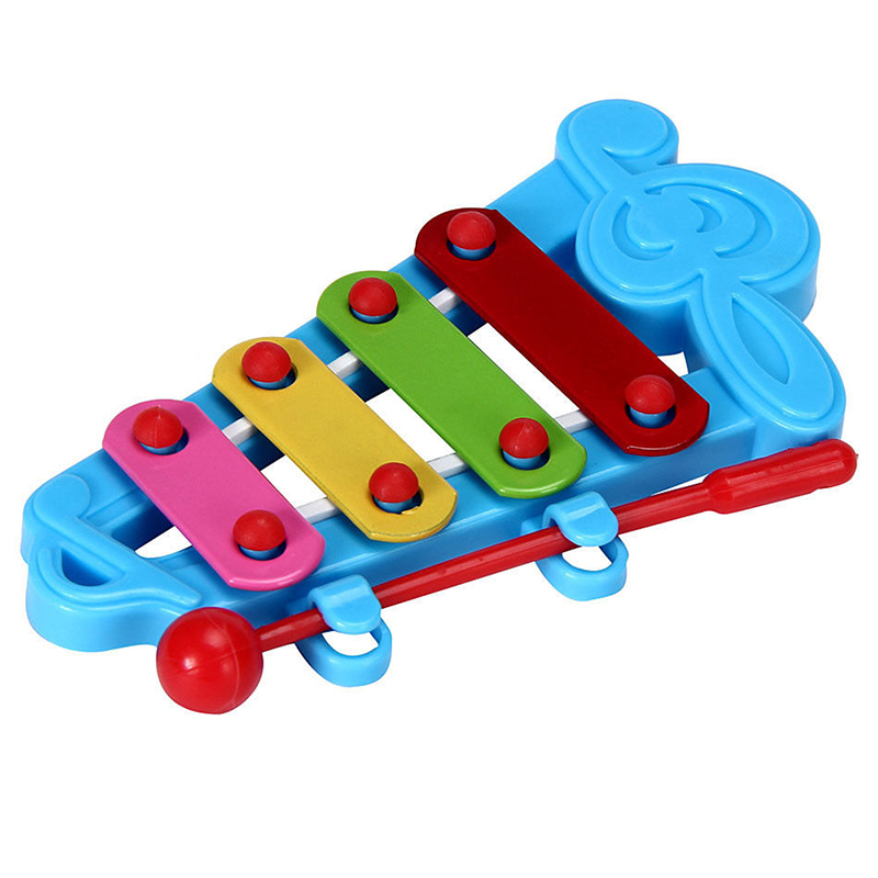 Baby Child Kid 4-Note Hand Knock Piano Musical Instrument Toys Wisdom Development Color: Blue