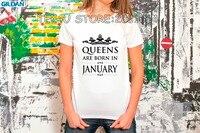 2017 Summer Style Women Short Sleeve Queens Are Born In January Women Birthdaty T-Shirt 2017 Summer Sexy Fashion T Shirt