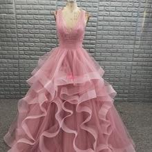 NOBLE BRIDE Lady Ball Gown Prom Dress 2019 Elegant V Neck