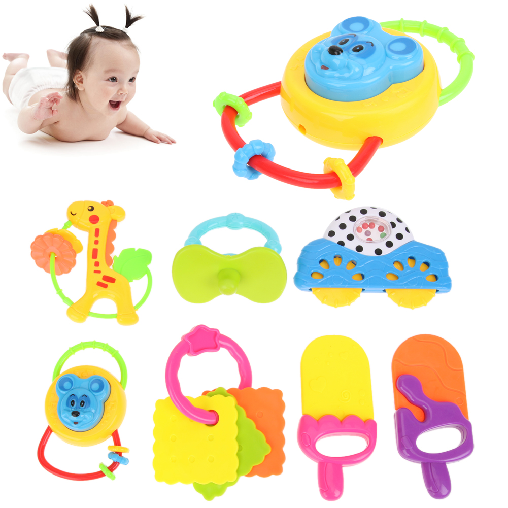 7PCS/PACK Baby Rattle Toys Carton Hand Bells Animal style Toy Baby Music Rattle For Kid  ...