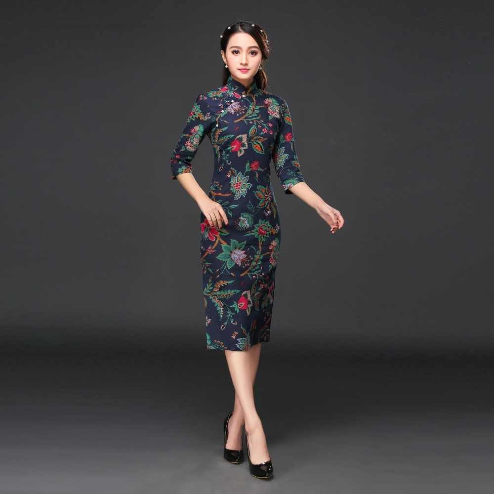 6f2b899a5 Summer New Chinese Traditional Cheongsam Women's Cotton Linen Qipao Elegant  Long Dress Slim Dress S M L XL