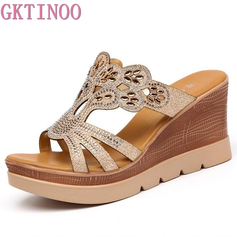 GKTINOO Plus Size34-43 Crystal Slides Women 2018 Summer Slippers Wedges Women's Sandals Flip Flops Woman Platform Gold Shoes plus size34 43 2016 new fashion women slides black flip flops shoes wedges pumps beading casual women s slipper sandals ps2572
