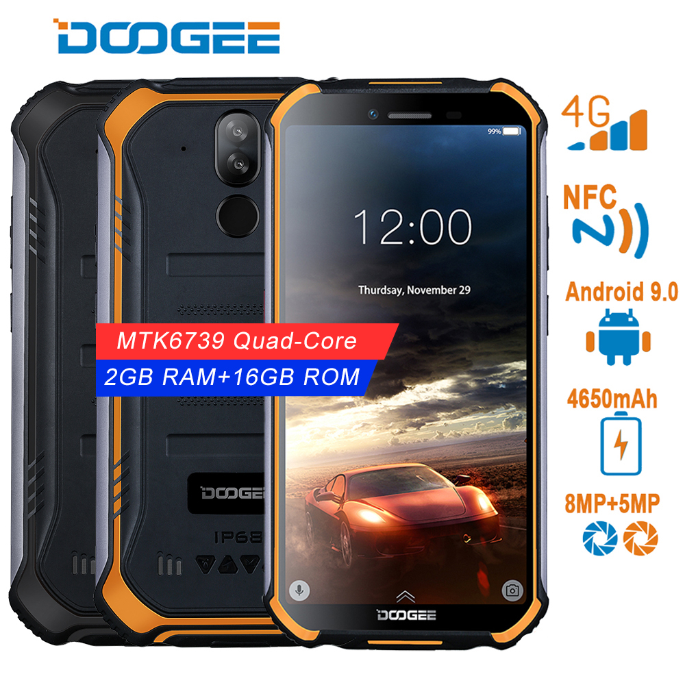 DOOGEE S40 Android 9.0 4G Network Rugged Mobile Phone 5.5inch Display 4650mAh MT6739 Quad Core 2GB RAM 16GB ROM 8.0MP IP68/IP69K