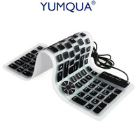 Silicone Keyboard Wired USB Flexible Numeric Washable Keyboard Soft Waterproof Roll Up Ultra Slim 107 Keys