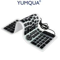 Silicone Keyboard Wired USB Flexible Numeric Washable Keyboard Soft Waterproof Roll Up Ultra Slim 107 Keys