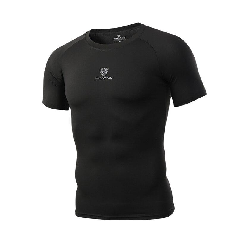 5ecfb661f815 FANNAI Men's Running T-Shirts Corset Fitness Wear Shirt Gym Hiking Tennis  Sportwears Pure Color Tights Black