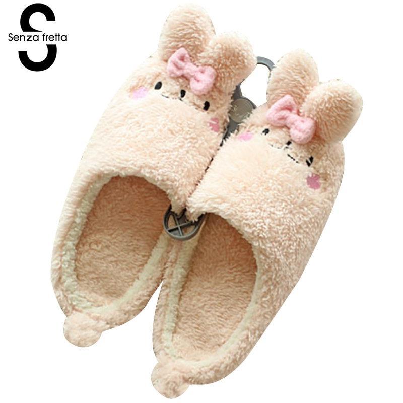 Senza Fretta Women Shoes Winter Warm Indoor Plush Slippers Cartoon Home Non-slip Cotton Slippers Cute Soft Women Slippers Shoes soft plush big feet pattern winter slippers