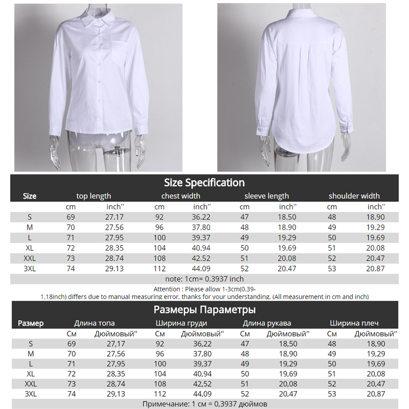 Ultimate Deal]White Shirt Blouse Buttons Collar Women Tops Streetwear Long-Sleeve Loose Plus-Size Casual