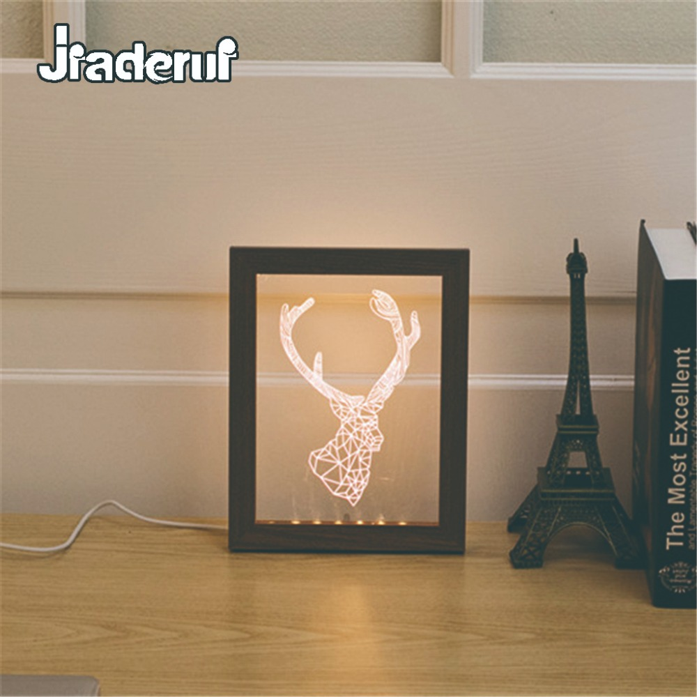 Jiaderui Novelty 3D Wood Photo Frame Wall Lamp Creative LED USB Night Light Home Decor Kids Gift Table Lamp Baby Sleeping Light novelty 3d full moon lamp led night light usb rechargeable color changing desk table light home decor 8 10 12 15 18 20cm