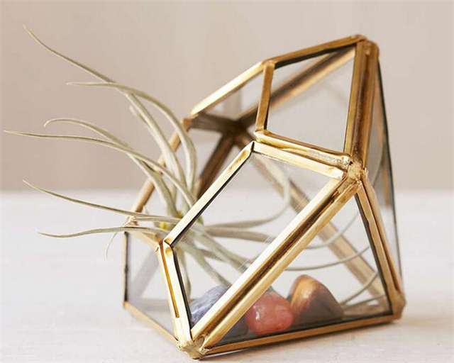 Мини геометрическая алмаз стекло террариума / городская расти ручной работы современные плантатор для внутреннего озеленения / витражи террариум