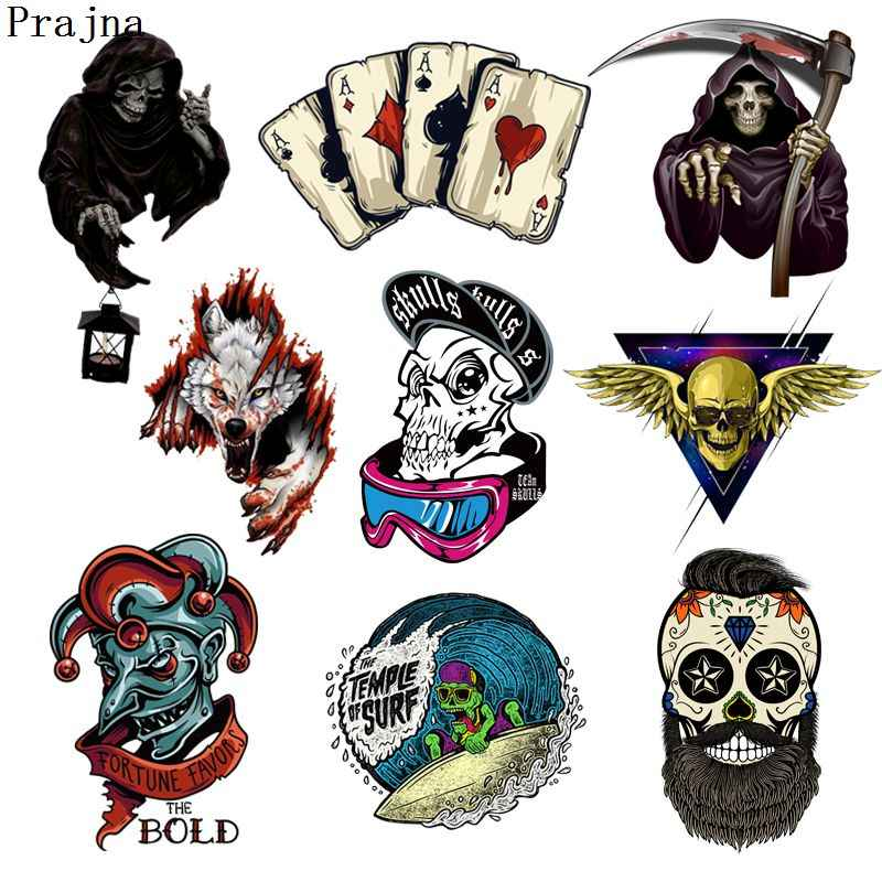 Prajna Grim Reaper Skull Heat Transfers Patch For Clothing Horror Movie Jacket Motorcycle Rock Style Sticker For T-shirts Man