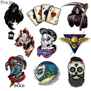 Prajna Grim Reaper Skull Heat Transfers Patch For Clothing Horror Movie Jacket Motorcycle Rock Style Sticker For T-shirts Man(China)