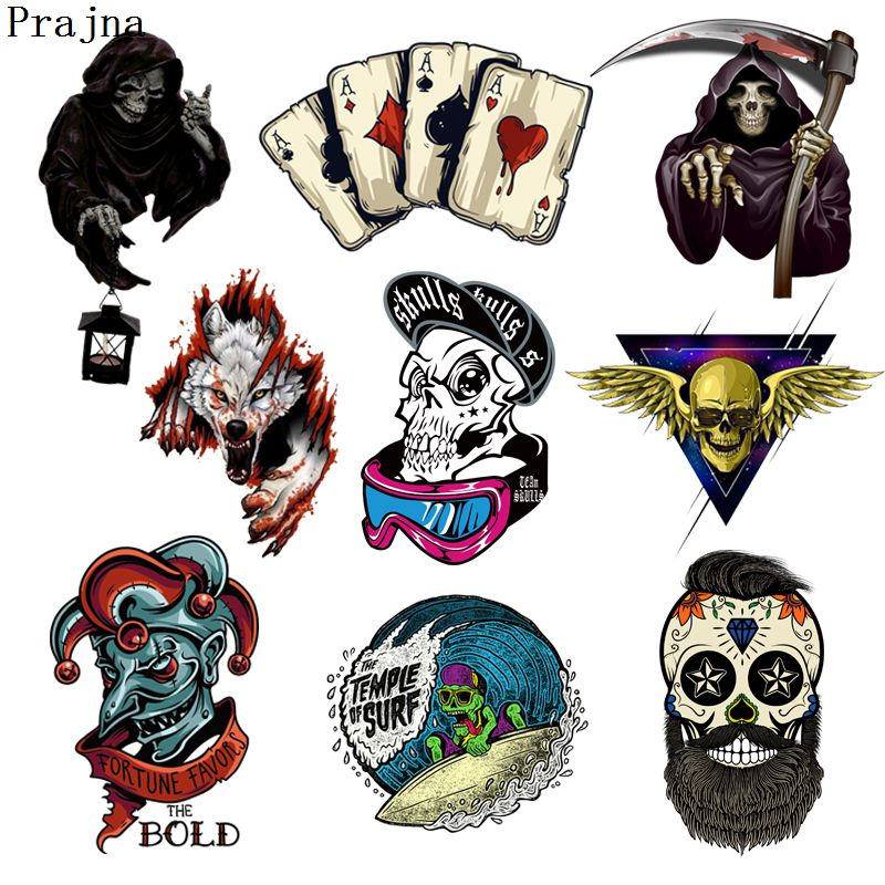 Prajna Grim Reaper Skull Heat Transfers Patch For Clothing Horror Movie Jacket Motorcycle Rock Style Sticker For T-shirts Man image