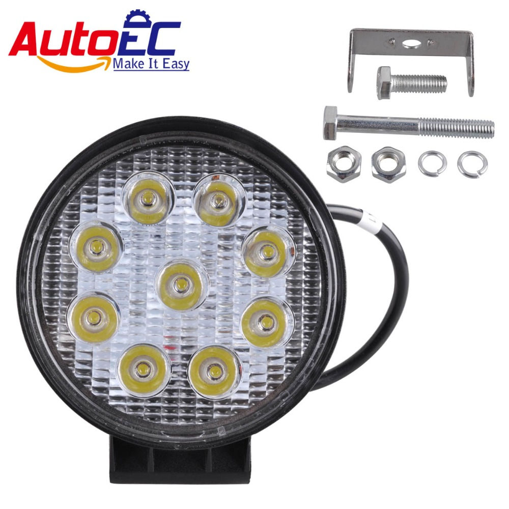 AutoEC 4 inch 27W LED Light Offroad Indicators Motorcycle Driving Off road Boat for Car Tractor Truck 4x4 SUV ATV 10-60V 10w led work light 2 inch 12v 24v car auto suv atv 4wd awd 4x4 off road led driving lamp motorcycle truck headlight