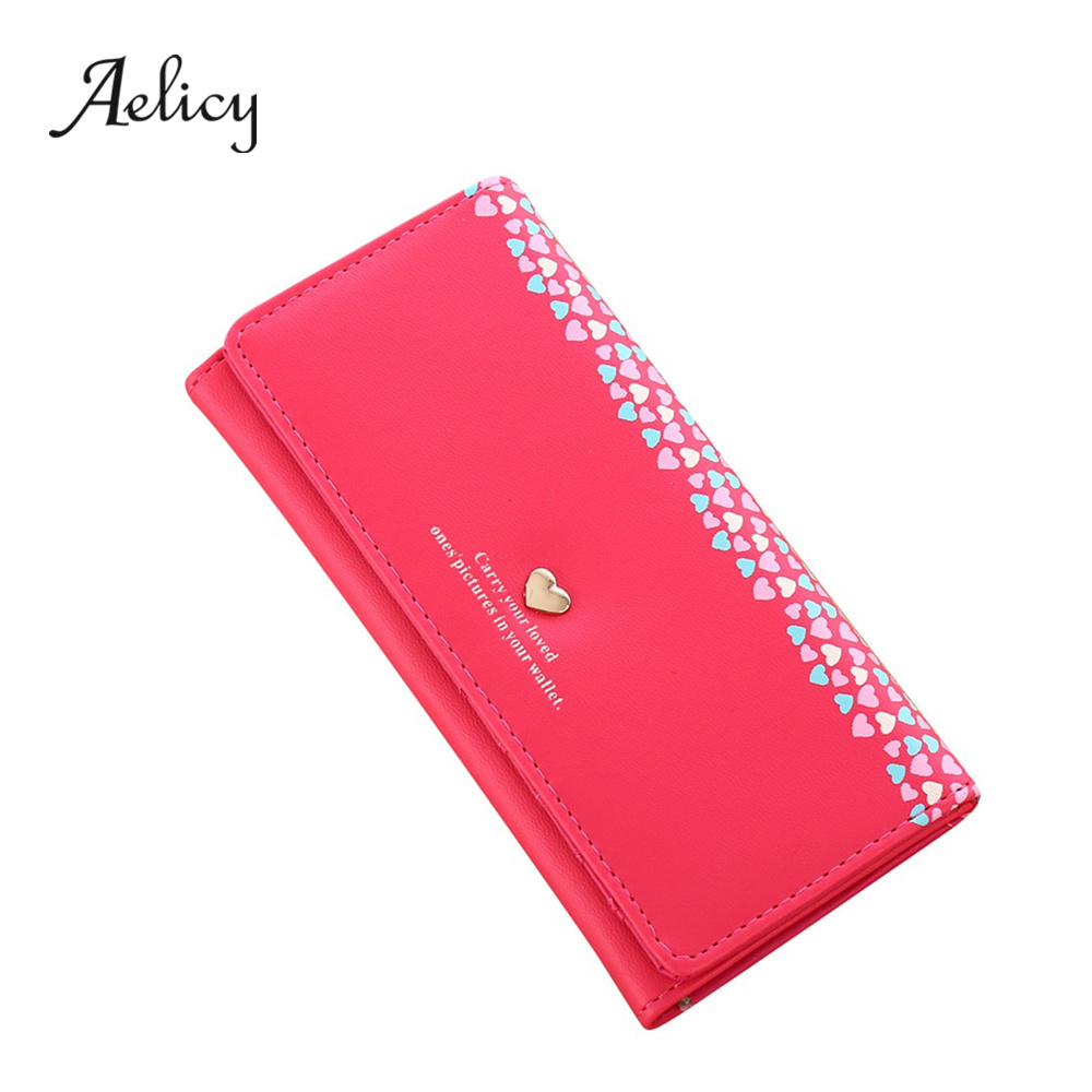 Aelicy High Quality Women Love Heart Pattern Coin Purse Long Wallet Card Holders Handbag PU Leather Crossbody Tote Bag 6
